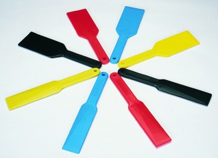 Set of Four Medium Plastic Ink Knives (Cyan, Magenta, Yellow, Black)