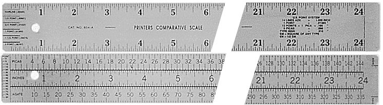 "#604-A - Stainless Steel 24"" Printers Comparative Two-Sided Ruler"