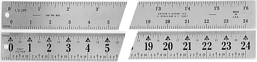 "#622 - Stainless Steel 24"" Two-Sided Scaling Ruler - 1/3 off 1/2 Up /Inch"