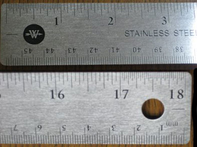 R590 - Stainless Steel Corkback Rulers - Inch/Metric