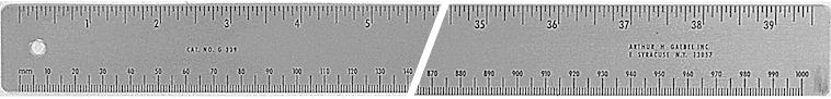 #339/2 - Zero-Center Meter Stick Two-Sided - Inch/Millimeters