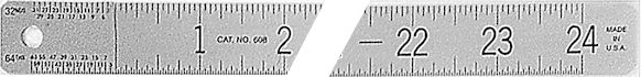 #608 - Stainless Steel One-Sided Ruler - Inch with Sub-Zero in 16th/32nd