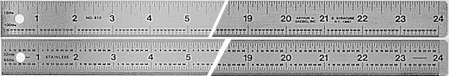 "#610 - Stainless Steel 24"" Two-Sided Ruler - Inch (32nd-64th)/Inch (16th-100th)"