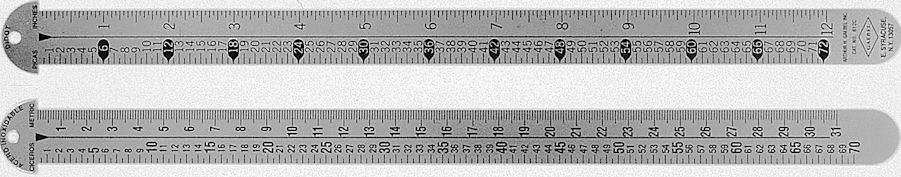 "#612-C - Stainless Steel 12"" Two-Sided Line Gauge - Cicero-Metric/Pica-Inch"
