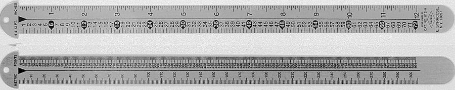 #612-H - Stainless Steel Two-Sided Line Gauges - Point-Inches/Metric-Point