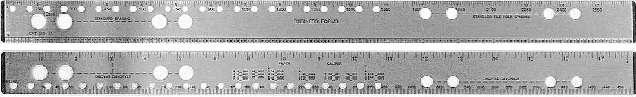 619 - Stainless Steel Two-Sided Business Forms Ruler