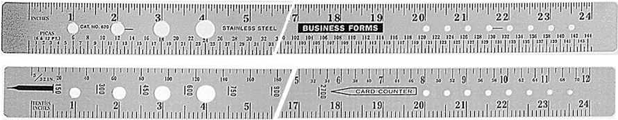 620 - Stainless Steel Two-Sided Business Forms Ruler