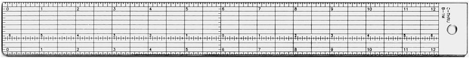 "C-Thru #B-1M Transparent Acrylic Ruler 12"" - Sub-Zero Inches-Inches"