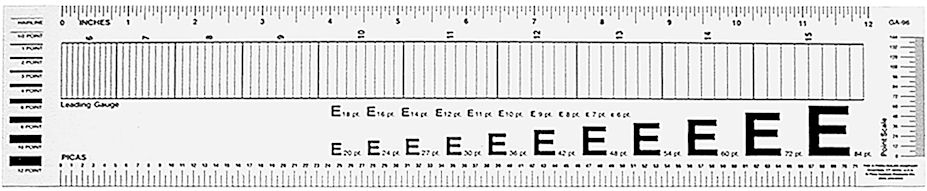GA-96 - Graphic Arts Leading Gauge Ruler