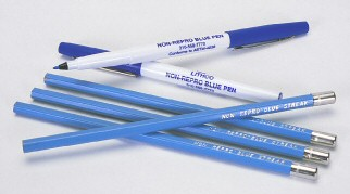 Non-Reproducing Blue Pens and Pencils