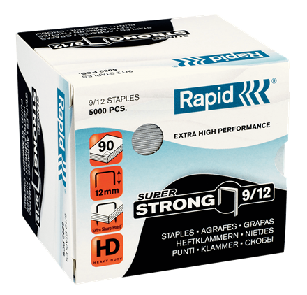 "Rapid SuperStrong Staples 9/12 - 1/2"" / 12 mm"