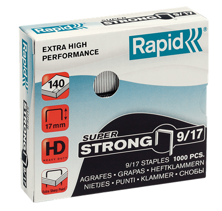 "Rapid SuperStrong Staples 9/17 - 3/4"" / 17 mm"